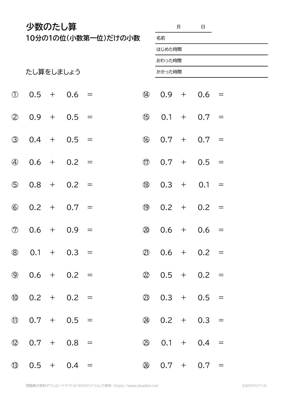 10分の1の位(小数第一位)だけの小数の足し算3