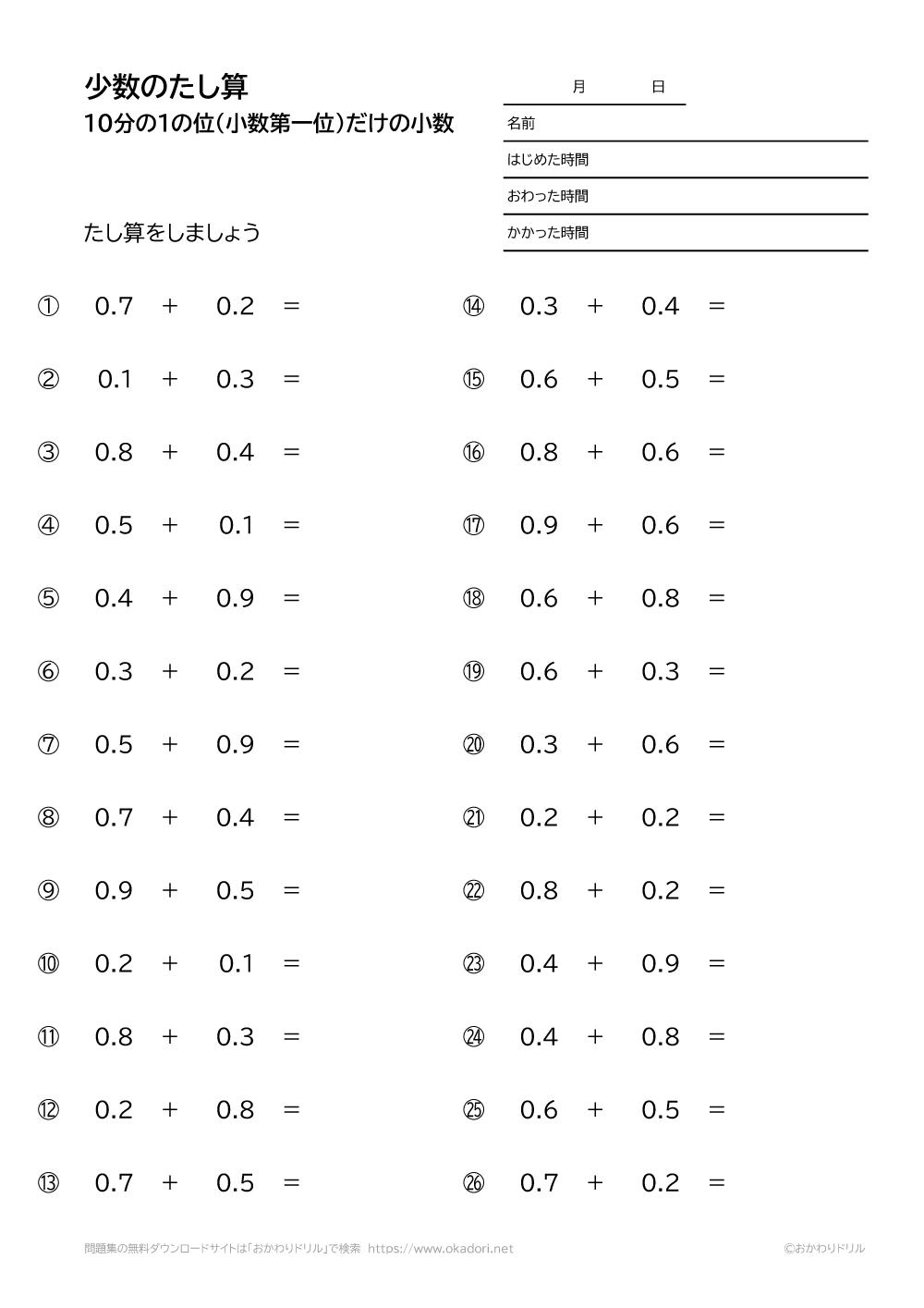 10分の1の位(小数第一位)だけの小数の足し算5