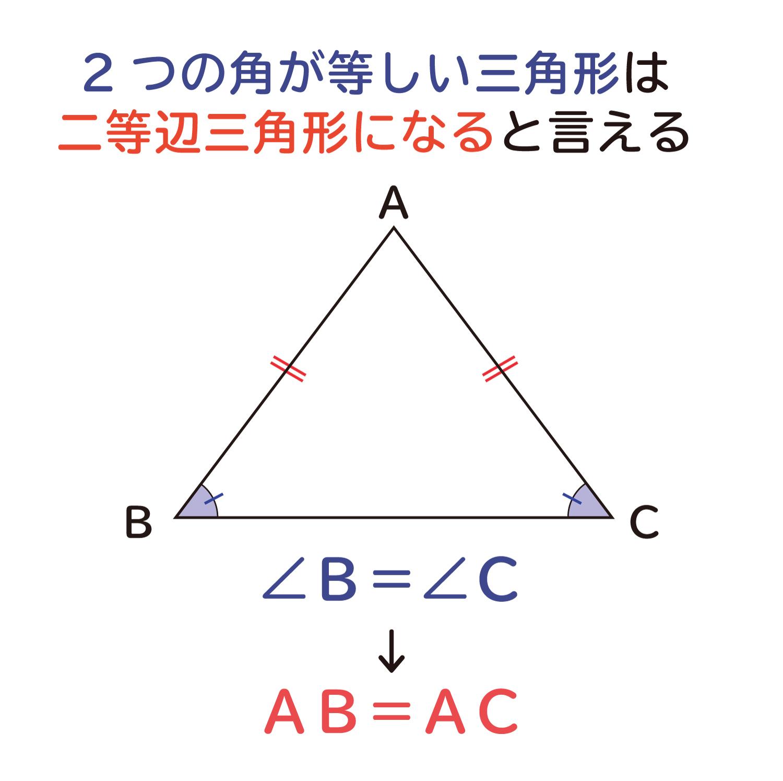 """""""2つの角が等しい三角形は、二等辺三角形になる""""ことの説明図1"""