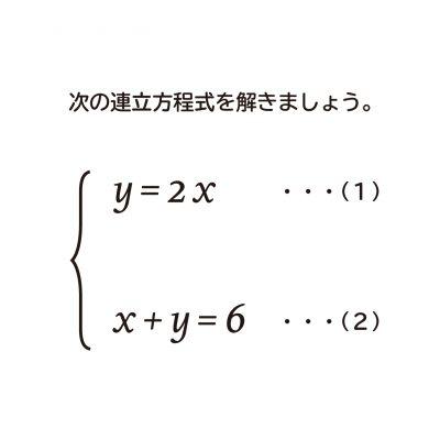 連立方程式の解き方の説明ー代入法を使った解き方ー
