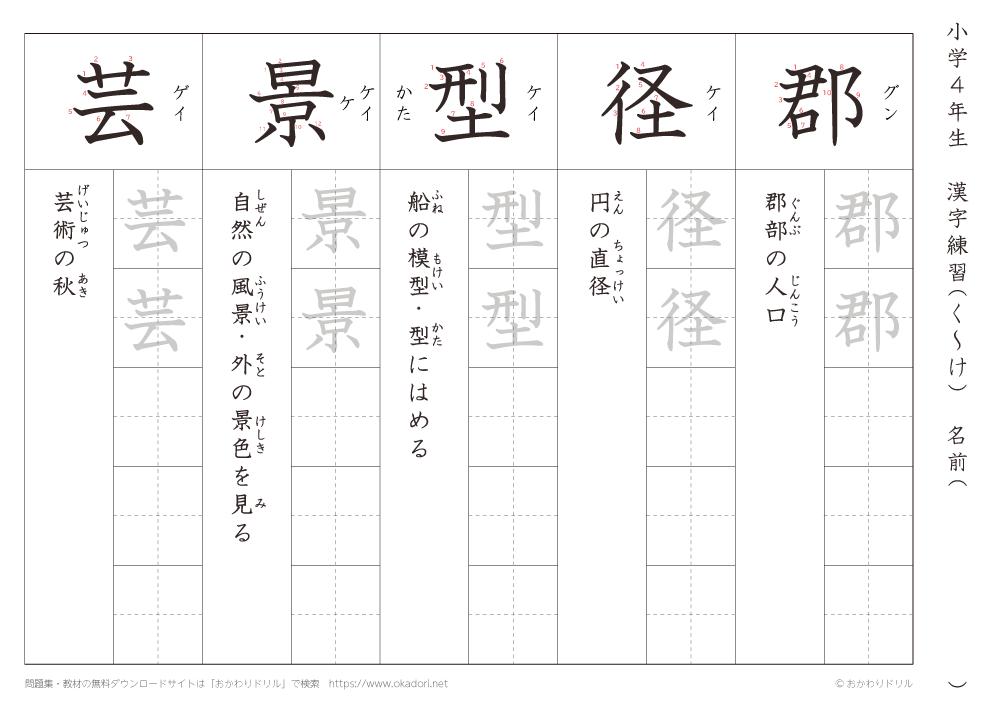 漢字練習(5) 読み(く~け)