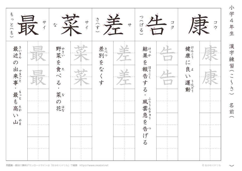 漢字練習(2) 読み(こ~さ)