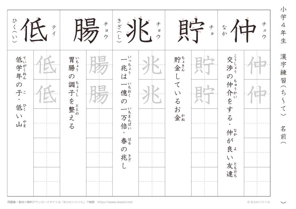 漢字練習(3) 読み(ち~て)