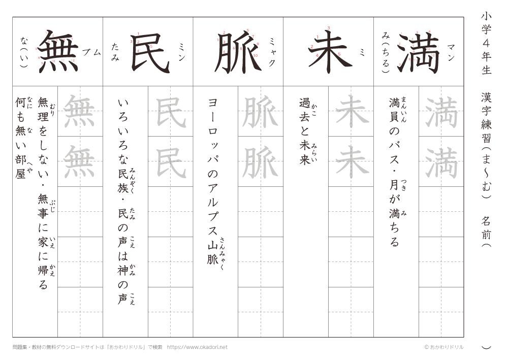 漢字練習(6) 読み(ま~む)