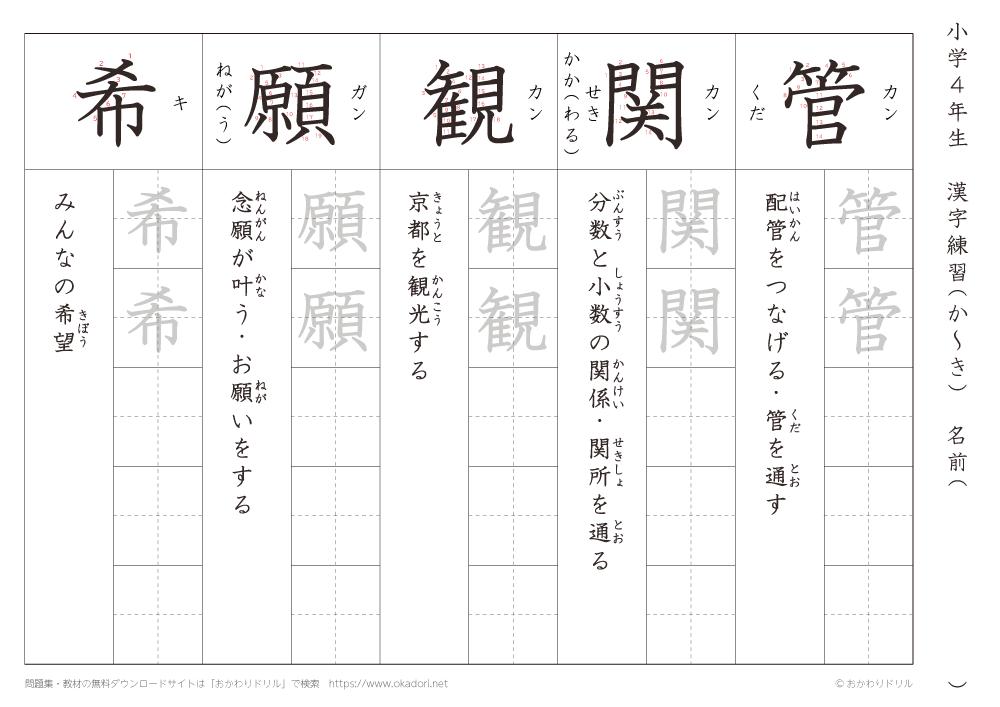 漢字練習(6) 読み(か~き)