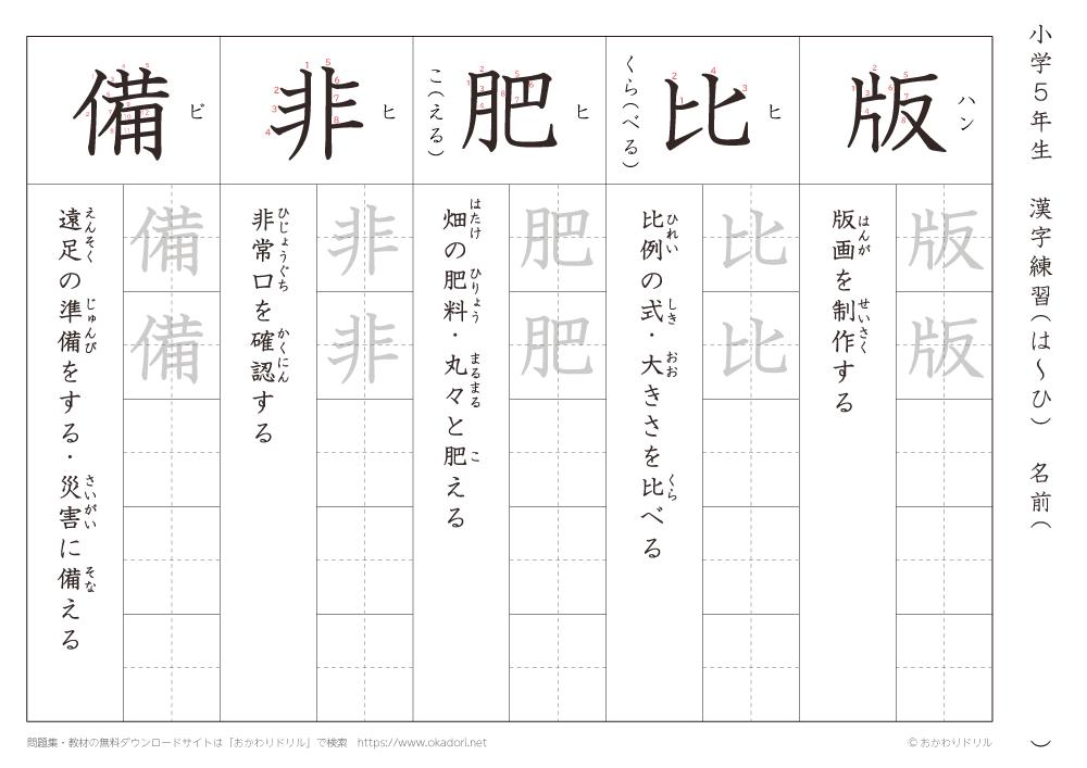 漢字練習(1) 読み(は~ひ)