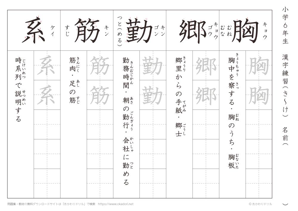 漢字練習(6) 読み(き~け)