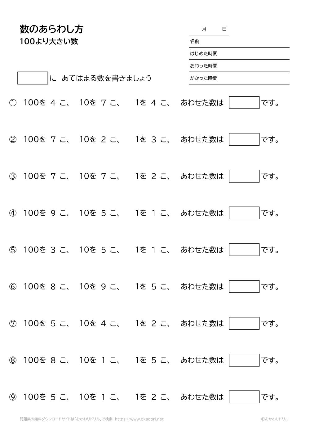 100より大きい数の表し方-1-2