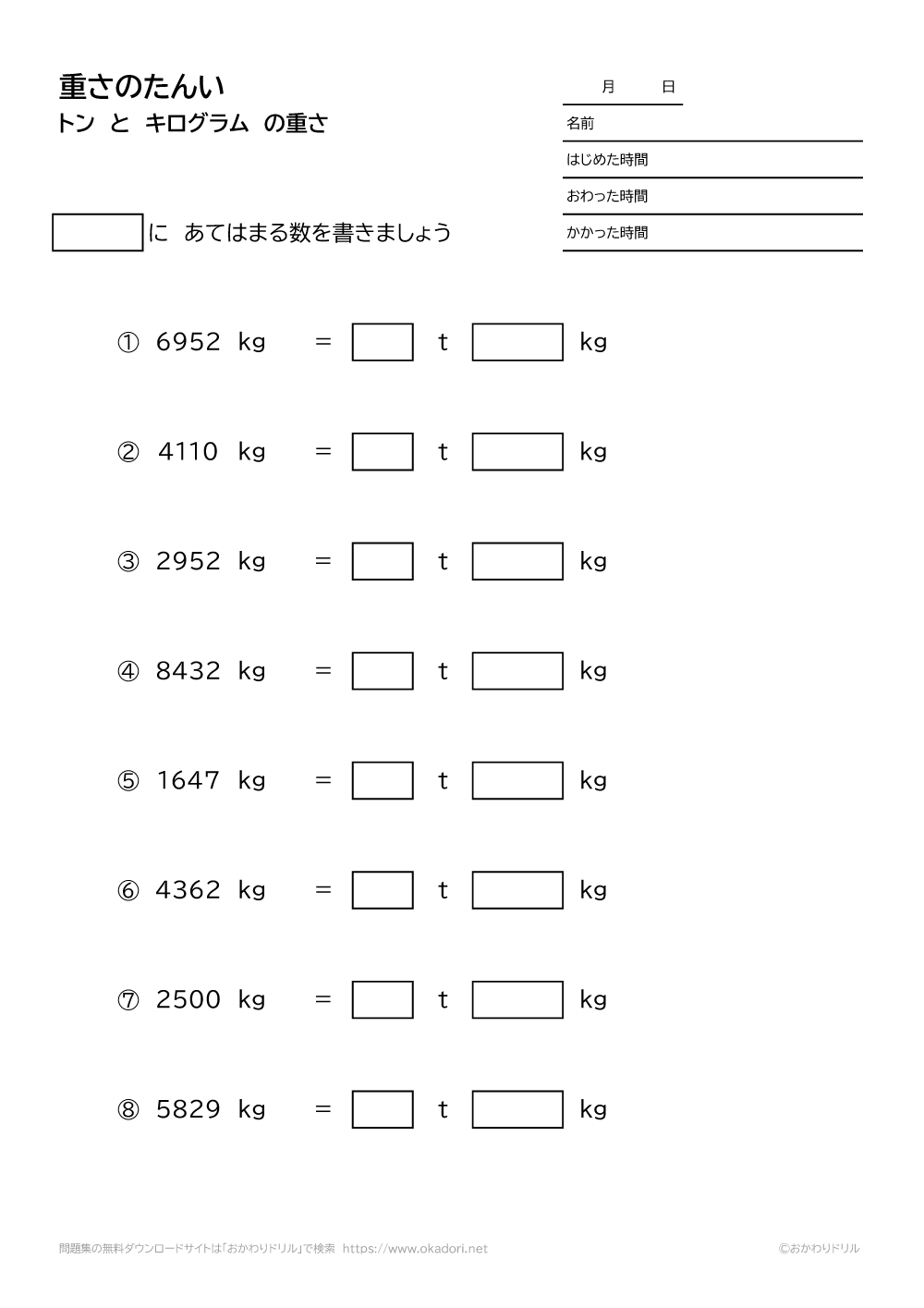 トンとキログラムの重さの単位-1-1