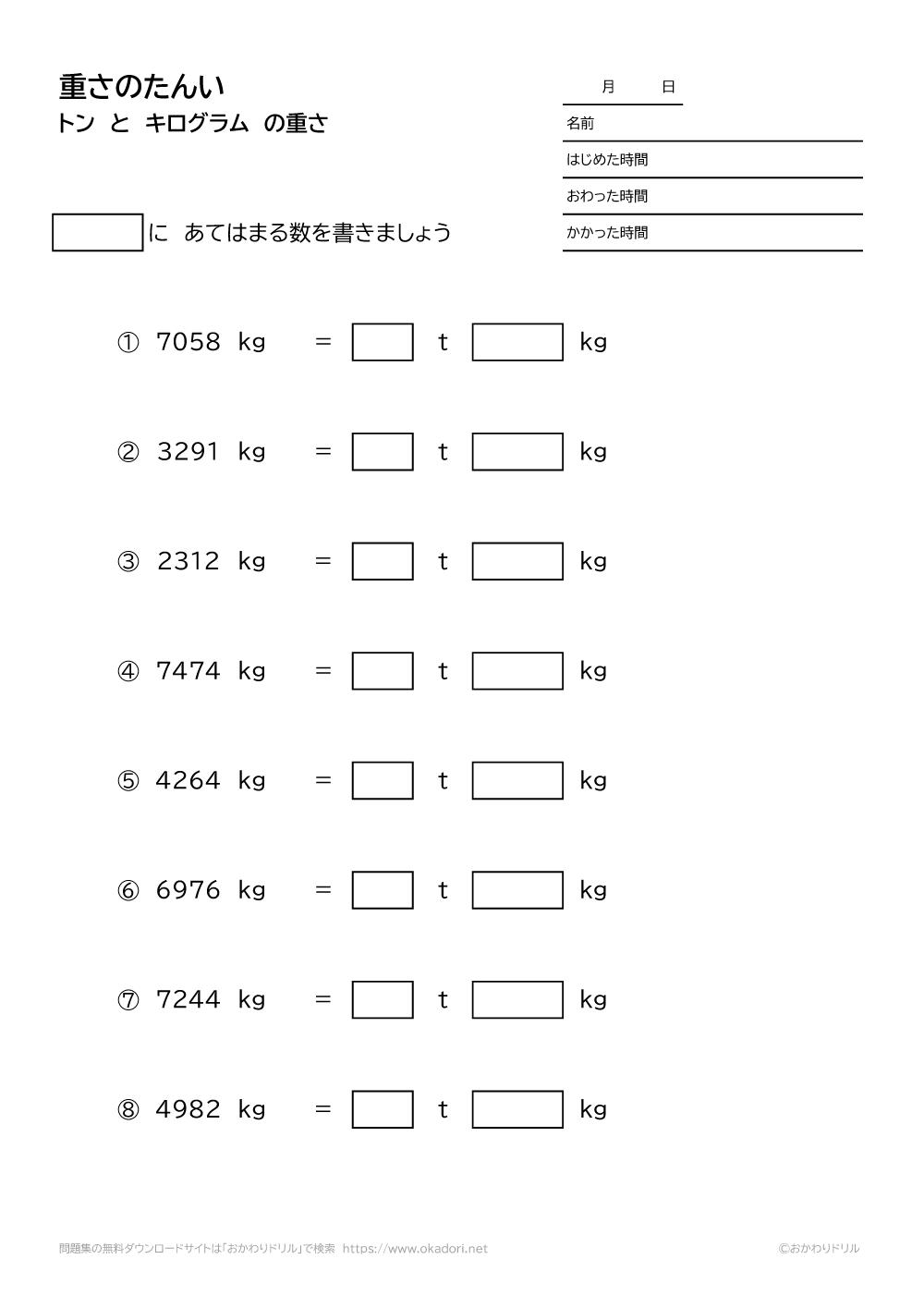 トンとキログラムの重さの単位-1-2