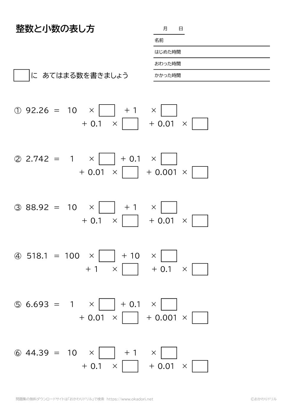 整数と小数の表し方1