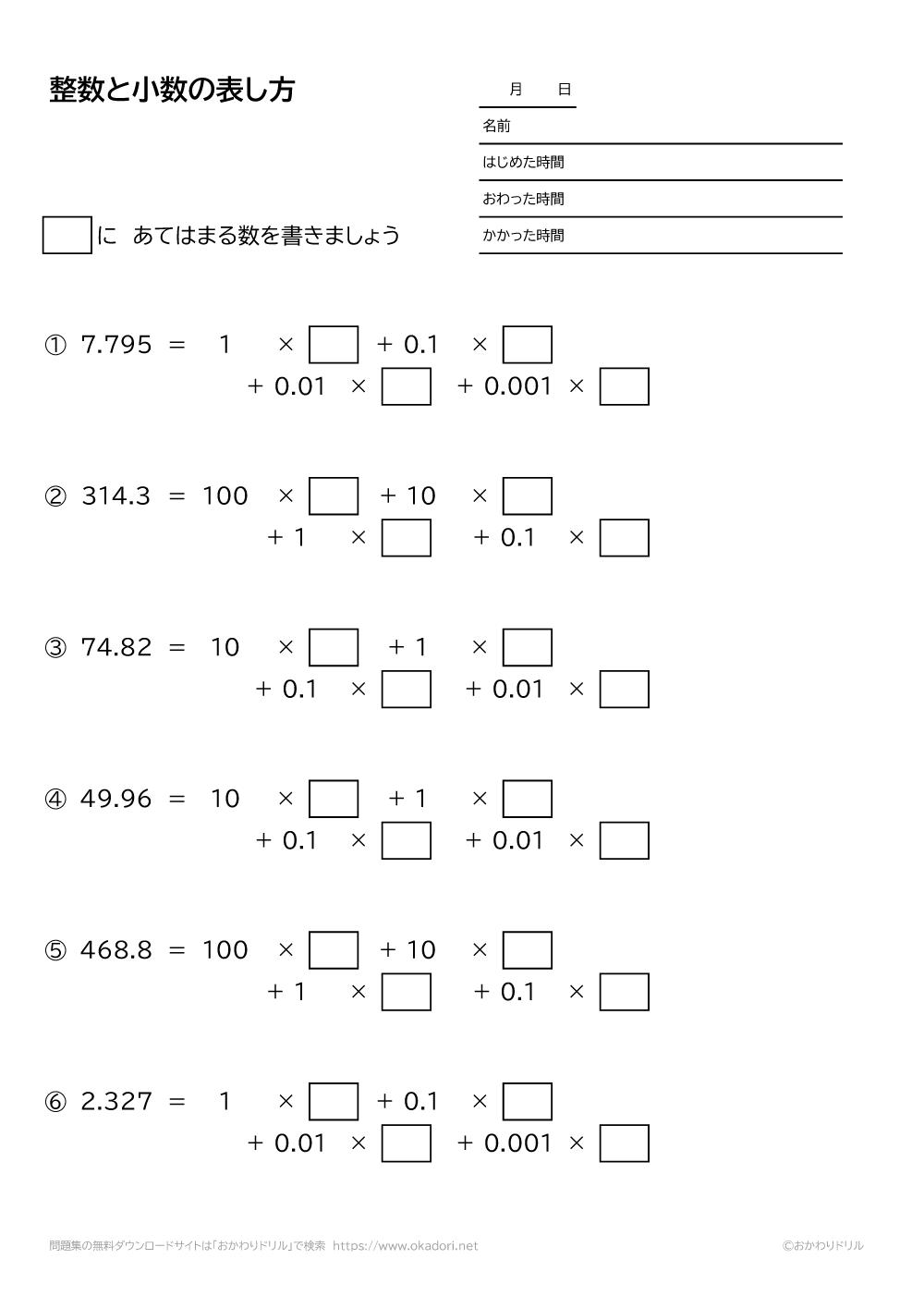 整数と小数の表し方6