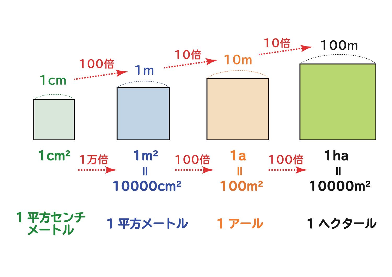 面積の単位「平方センチメートル・平方メートル・アール・ヘクタール」の関係5