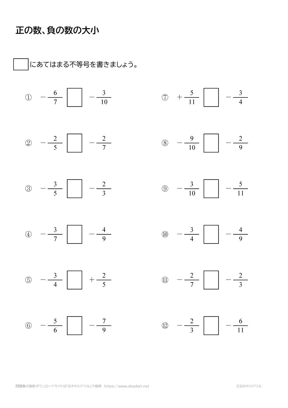正の数・負の数の大小5
