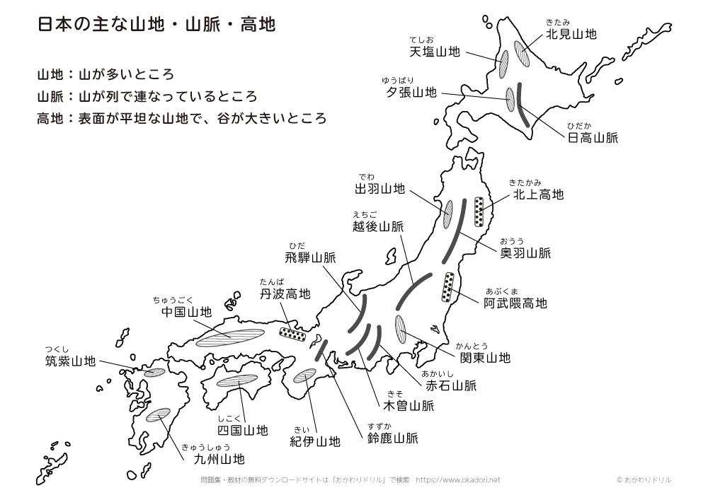 日本の主な山脈・山地・高地