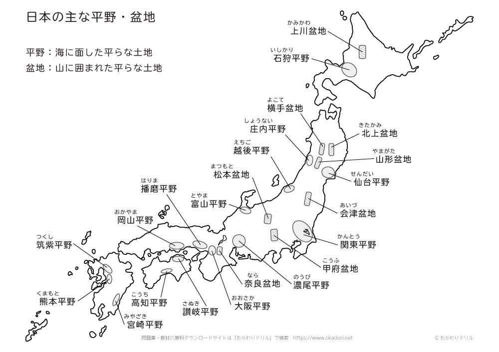 日本の主な平野・盆地