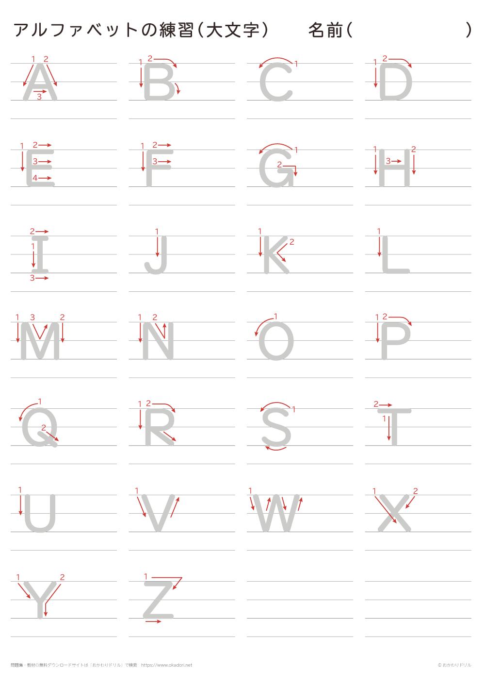大文字のアルファベットの書き方練習
